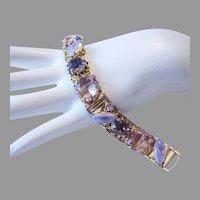 1960's Shades Of PURPLE Art Glass & Rhinestones BRACELET