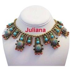 JULIANA Rare Moroccan MATRIX Book Piece Bib COUTURE Necklace Turquoise & Coral