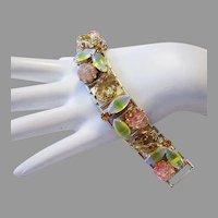 1960's ART GLASS, Baubles, Carved Glass & RHINESTONES Bracelet