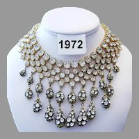 1972 RUNWAY Show Stopping Sultry BOLD Rhinestone Dangling BIB Collar Necklace