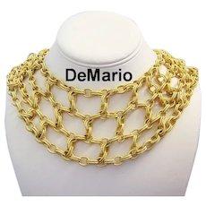 DeMARIO Impressive Textured Golden Links BIB Necklace