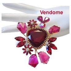 1950's VENDOME Vivacious Rare Colorful UNIQUE SHAPED Glass & Rhinestones BROOCH / Pin