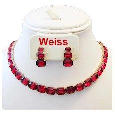 WEISS Ravishing Red Emerald Shape RHINESTONES Necklace & Earrings