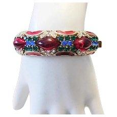 1982 Colorful RHINESTONES & Embellished Hinged STATEMENT Cuff Bracelet