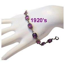 1920's REVERIE Open Back Rhinestones ART DECO Brass Bracelet