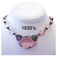 1920's Art Deco DEPRESSION GLASS Pink Asymmetrical Necklace