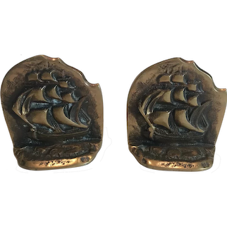 Brass  Galleon Bookends