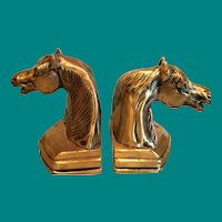 Horse Head Brass Bookends