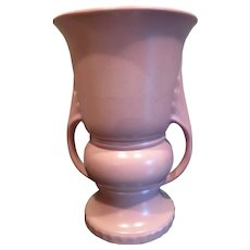 Vintage Abingdon Pottery Pink  #118 2 handled Deco Vase c1940s