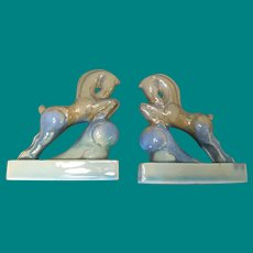 Pottery Horse figural bookends