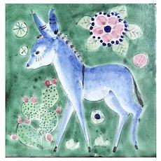 Italian Majolica Tile with Donkey