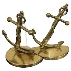 Brass Anchor Bookends & Lamp