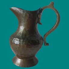 Hand hammered Copper Pitcher with Brass handle