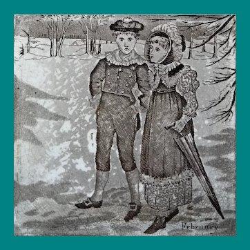 English Transfer Tile Wedgwood February