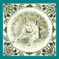 Victorian Transfer Tile with Cat