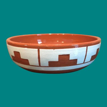 "Sioux Native American  Signed Swift Eagle SP-RC-SD 5 1/2"" ART Pottery Bowl"