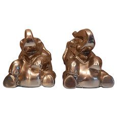 Whimsical Laughing  Elephant Bookends