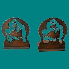 Hand hammered copper  with silhouette ship