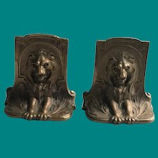 Solid Bronze Lion Bookends