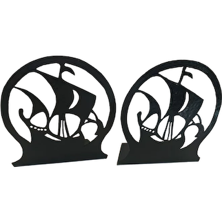 Arts & Crafts Bookends Cut out Silhouette Galleon's