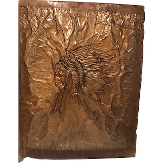 Hand Hammered Copper Indian Chief
