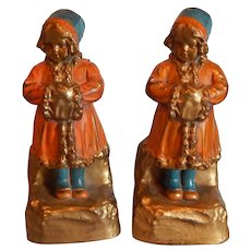 Galvano Bronze Bookend Sweet little Girl with hand muff, polychrome c 1925