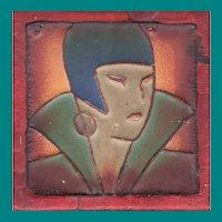 Art Deco Lady Rossman Tile--Rare