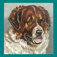 Hand Painted St Bernard Dog Tile
