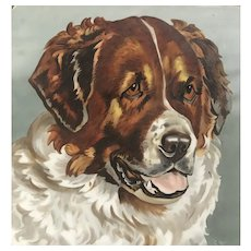 Hand Painted St Bernard Dog Tile