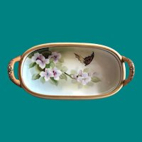 Nippon Hand Painted Tray with Butterfly