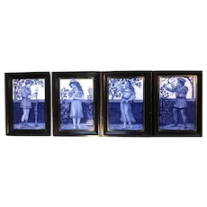 Minton Hollins  Tile set of Season's, Artist Signed