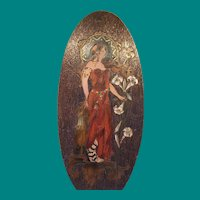 Flemish Art Pyrography Art Nouveau Lady
