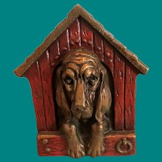 Marion Bronze  Basset Hound in Doghouse Bookends