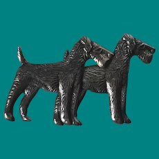 Vintage Sterling Silver Standard Schnauzer Dogs Brooch/ Pin.