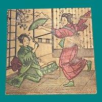 Oriental ladies on Flemish Art Box, pyrography