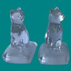 Glass Cat Bookends