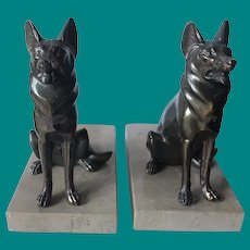 Brass on Marble German Shepard Bookends by Enrique Molins- Balleste