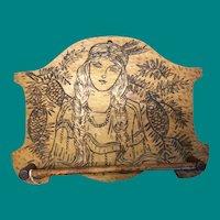 Flemish Art Indian Princess tie rack, pyrography
