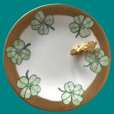 Limoges, A lovely little gem in this handled dish.  Shamrock Dish Hand Painted & signed 1912