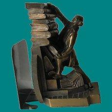 Librarian Struggling with stack of books, c 1920, Kronheim & Oldenbusch