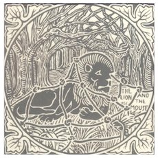 Pair of English Transfer tiles with Aesop Fables