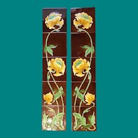 Art Nouveau Tile Fireplace Sides