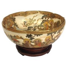 Satsuma Gilt Ancestors Bowl Antique Signed 10""