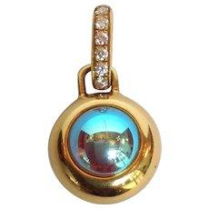 Diamond Glass Ball Pendant 18 Karat Gold