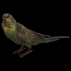 """Vienna Bronze Standing Parrot Green and Yellow Marked Austria 3"""""""