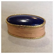 Lapis Pill Box 18K Multi-color Gold 19th Century