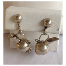 Spratling Silver Pitcher Earrings 1950's