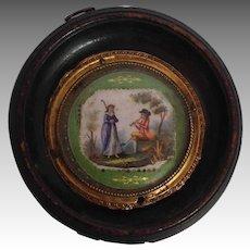 Courting Plaque Miniature Porcelain Handpainted