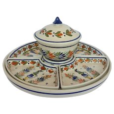 Henroit Quimper Lazy Susan Supper Service 12.75""
