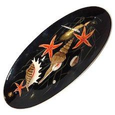 Large Porcelain Painted Henriot Quimper Seafood Platter